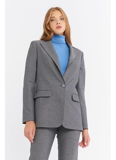 BGN Gri - Tek Düğmeli Blazer Ceket Gri